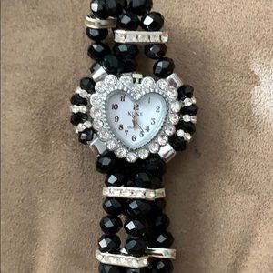 Silver w/Black Bead Large Face Heart Watch